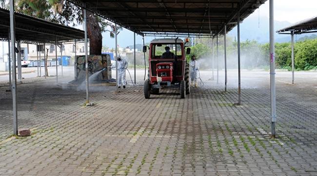 Kemer'de sanayi sitesi dezenfekte edildi