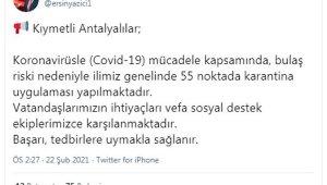 Antalya'da 55 noktada karantina kararı