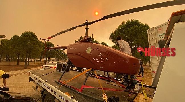 Manavgat'taki yangın insansız helikopter ile gözlenecek
