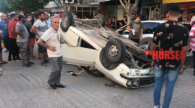 Otomobil ters döndü, sürücü yara almadan kurtuldu