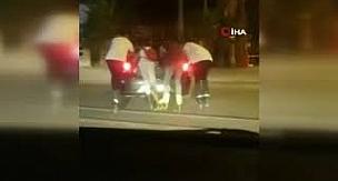 Antalya'da kaykaycı çocukların trafikteki tehlikeli hareketleri