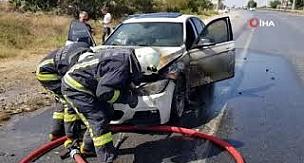 Hareket halindeki lüks otomobil cayır cayır yandı