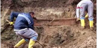 Bodrum'da sel suları lahit mezarı ortaya çıkardı
